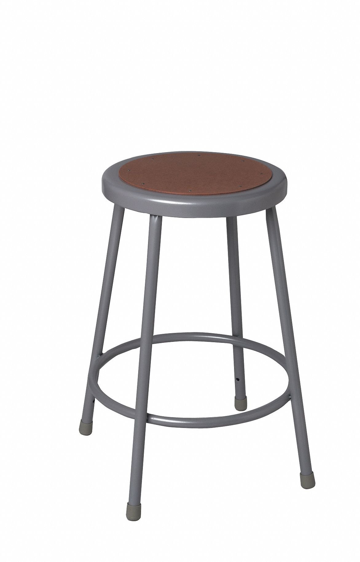 Round Stool with 24'' Seat Height Range and 300 lb. Weight Capacity, Gray