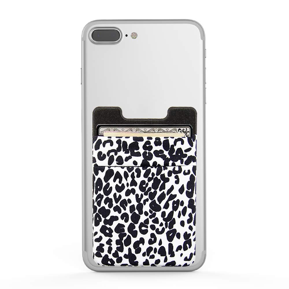 Phone Pocket for Almost All Phones Business Card ID and Keys lenoup Stretchy Leopard Print Stick On Cell Phone Wallet,Cell Phone Card Holder for Credit Card