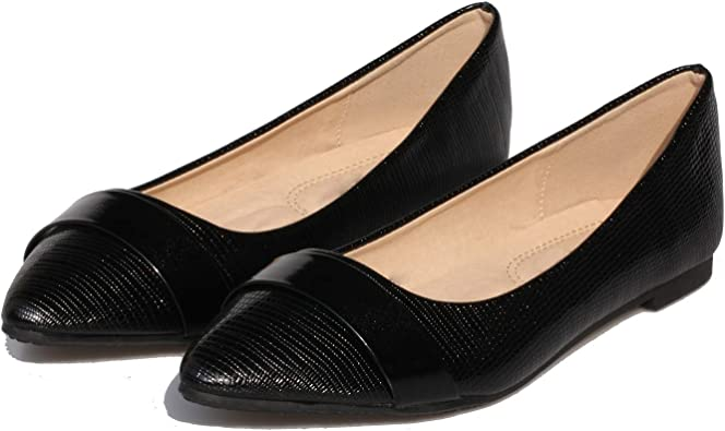 Women/'s Pointed Toe Patent Leather Stylish Flat Heels Casual Shoes Slip On Size
