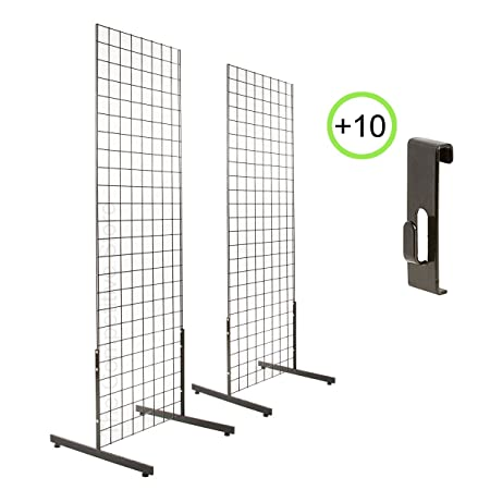 2 x 6 2-Pack Gridwall Panel Tower T-Base Display 10 Utility Hooks Black