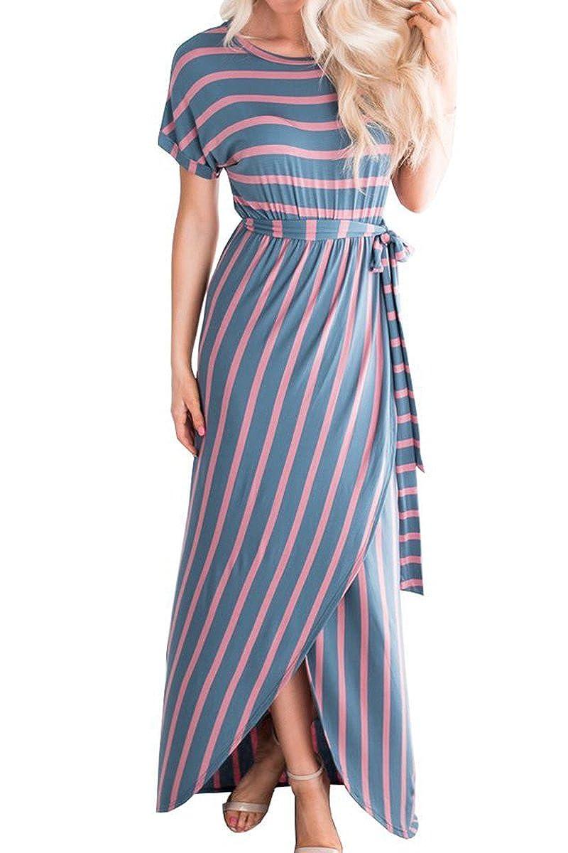 bluee Mulisky Womens Casual Loose Striped Short Sleeve Front Split Long Maxi Dress