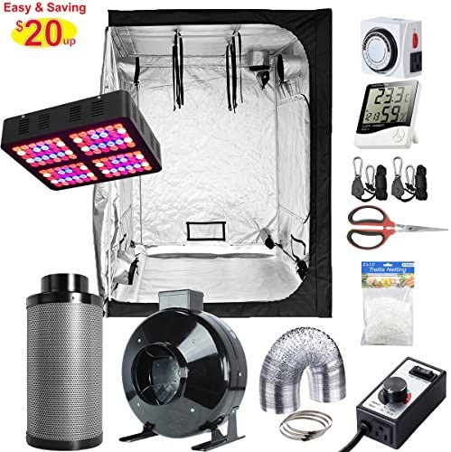 PrimeGarden ALPHAPAR New Tech Professional Sunlike Full-Spectrum 200W LED Grow Light 48 x 48 x 80 Grow Tent 6 Fan Filter Kit Accessories Indoor Grow Tent Kit Complete 48 x48 x80 Grow kit