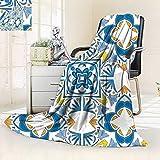 vanfan Soft Warm Cozy Throw Blanket Decor Tunisian Mosaic Azulojo Spanish Influence Authentic Retro Islamic Blue,Silky Soft,Anti-Static,2 Ply Thick Blanket. (90''x90'')