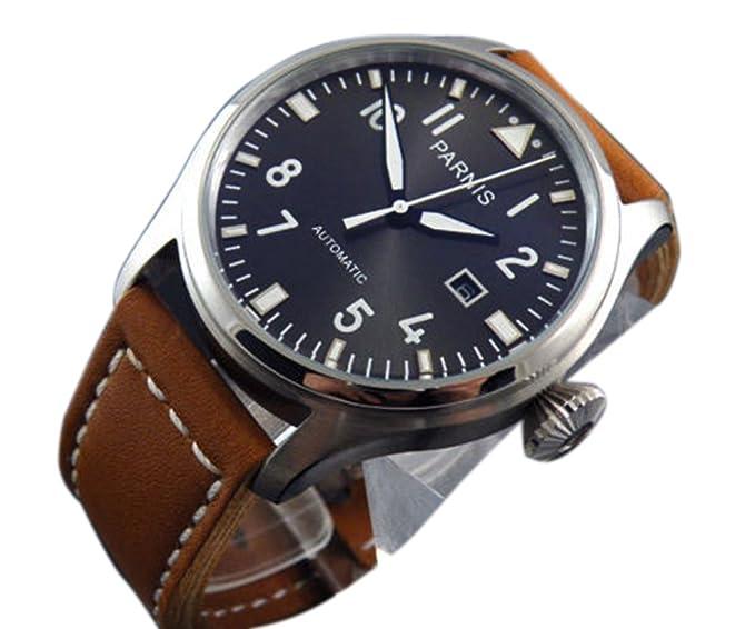 PARNIS 47 mm Grande Piloto Negro Dial Automático Reloj para hombre: Amazon.es: Relojes