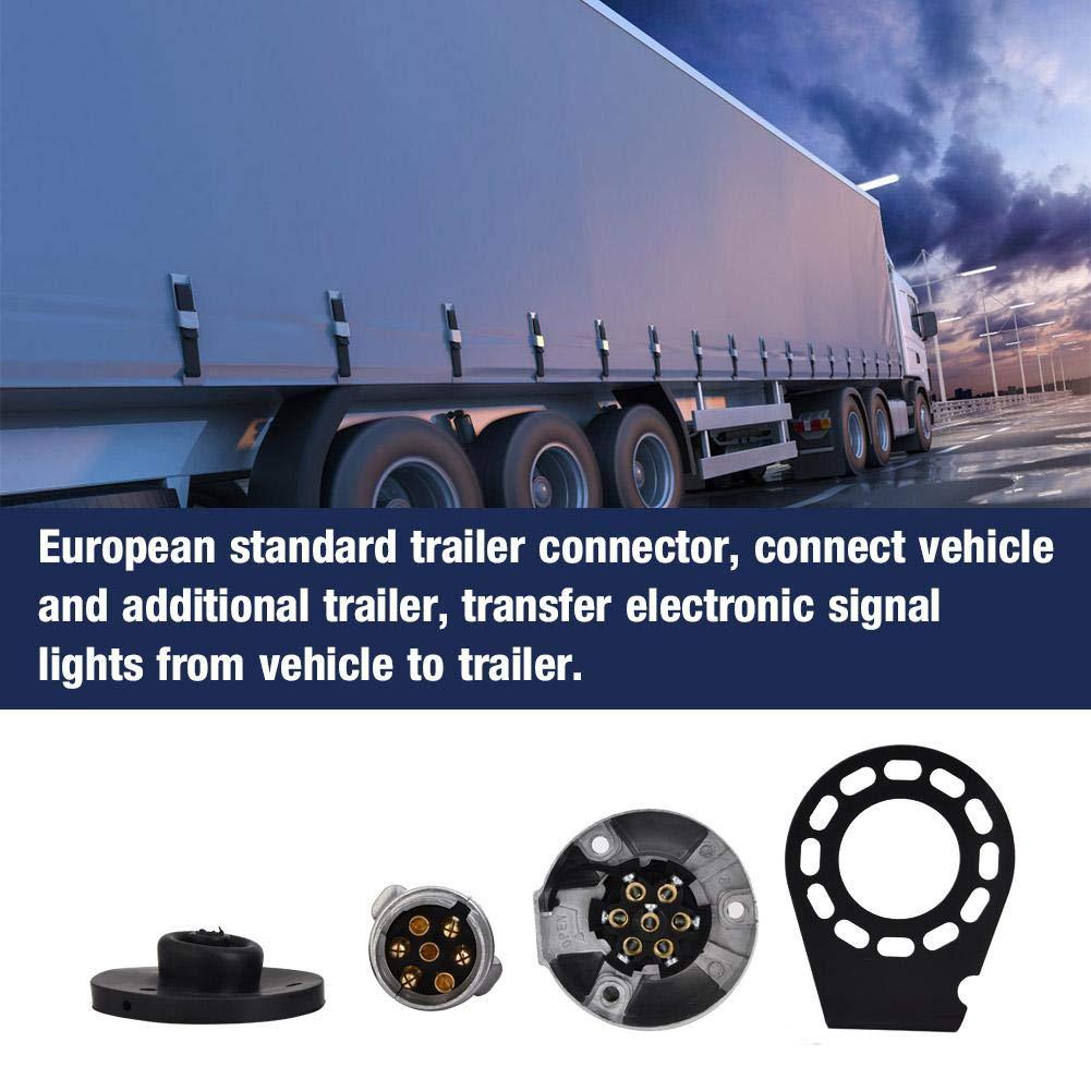 Aramox Prise de remorque 7 broches support de connecteur de prise adaptateur de remorque 12V Norme europ/éenne pour remorquage caravane remorque camion de bateau