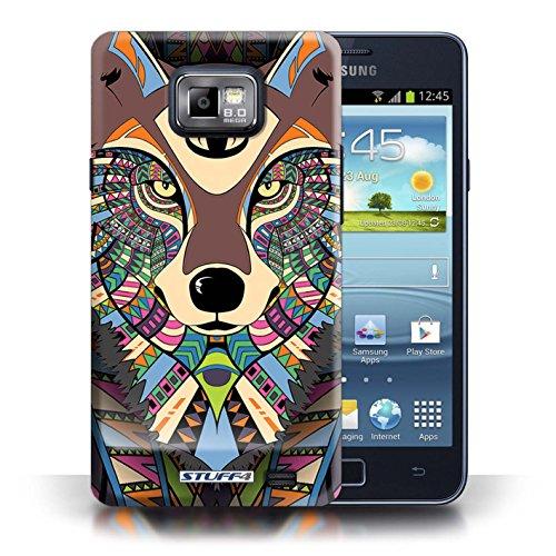 Etui / Coque pour Samsung Galaxy S2/SII / Loup-Couleur conception / Collection de Motif Animaux Aztec