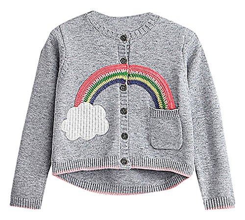 BPrincess Girl Gray Rib Edges Button up O Neck Crocheted Rainbow Wool Cardigan, Gray 6