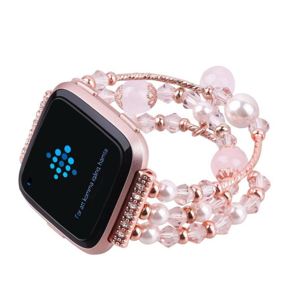GBSELL Fashion Women Beaded Bracelet Strap Band For Fitbit Versa Small (Pink)