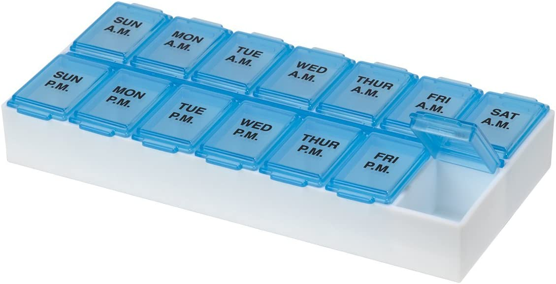 Ezy Dose (7-Day) Pill, Medicine, Vitamin Organizer Box | Weekly, 2 Times a Day, AM PM | Large Compartments | Transparent Lids