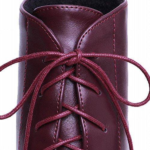 Carol Scarpe Casual Donna Moda Lace-up Piattaforma Tacco Grosso Martin Stivali Vino Rosso