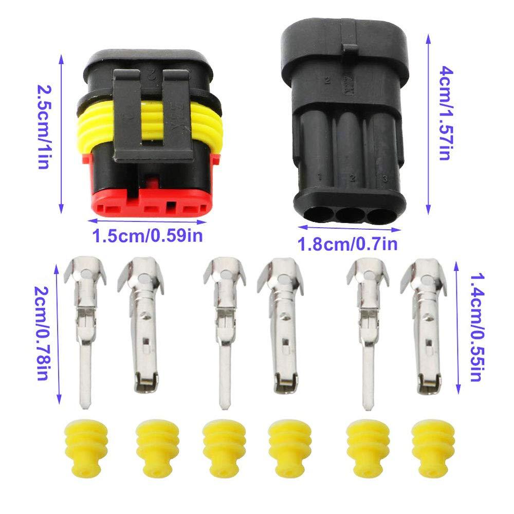 TOOHUI Imperm/éable /à leau Connecteur 12V 3 Pin 10 Pack Connecteur /étanche /électrique Prise M/âle et Femelle 1,5 mm Terminaux Waterproof Fil /électrique Connecteur pour Moto Auto Truck