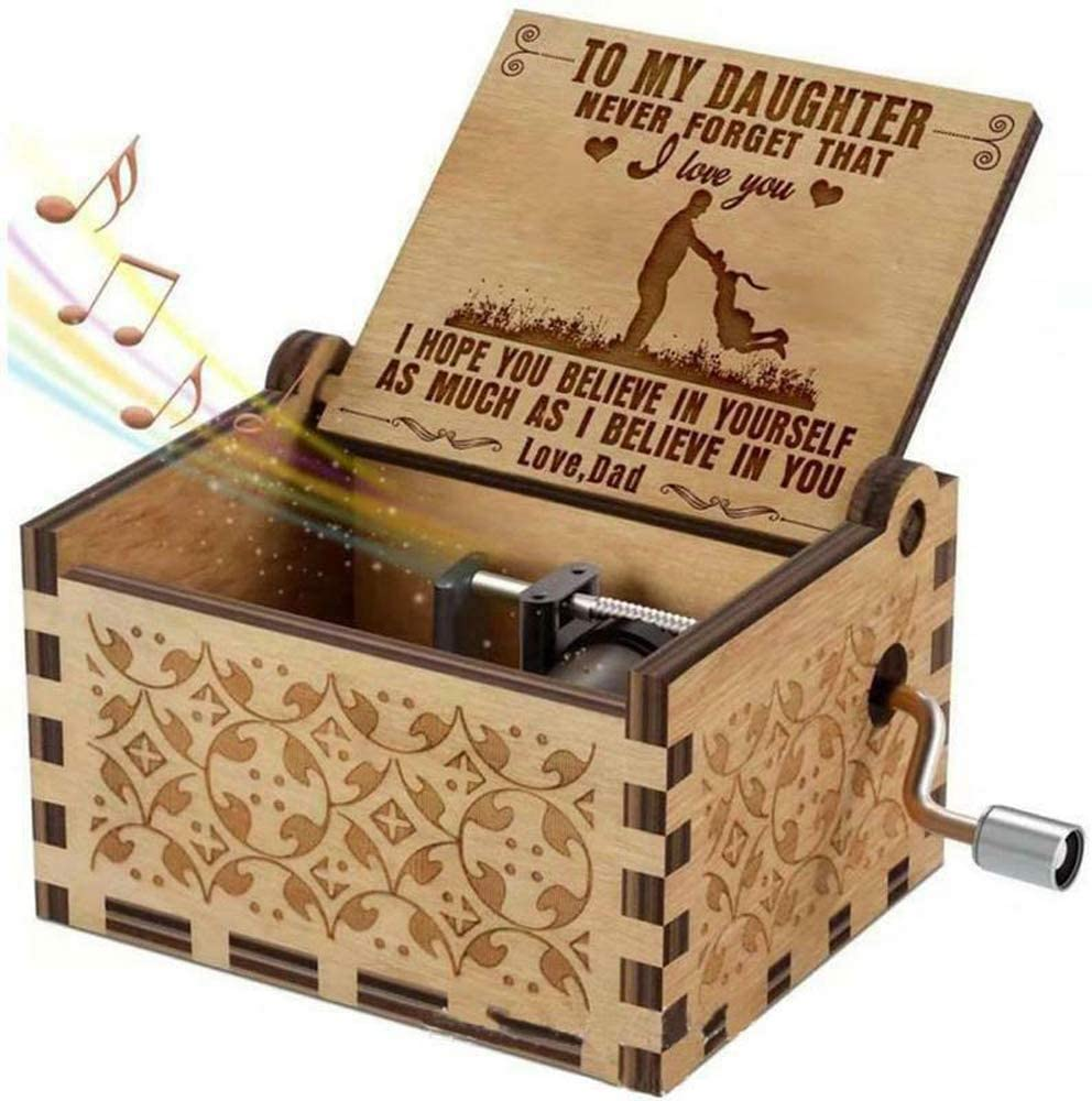 Retro Classical Antique Carved Play The Tune You are My Sunshine VIENNAR Hand-cranked Wooden Music Box for Daughter Son Gifts from Mom/&Dad 2.5, for Dad