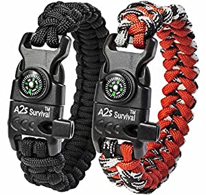A2S Paracord Bracelet K2-Peak – Survival Gear Kit with Embedded Compass, Fire Starter, Emergency Knife & Whistle – Pack of 2 - Quick Release Slim Buckle Design (Black / Red 9