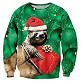 Uideazone Juniors Print Sloth Long Sleeve Shirt Funny Ugly Christmas Sweater Green