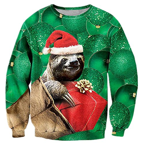 uideazone Boys Print Sloth Long Sleeve Shirt Funny Ugly Christmas Sweater Green Sloth Green Asia L= US M]()