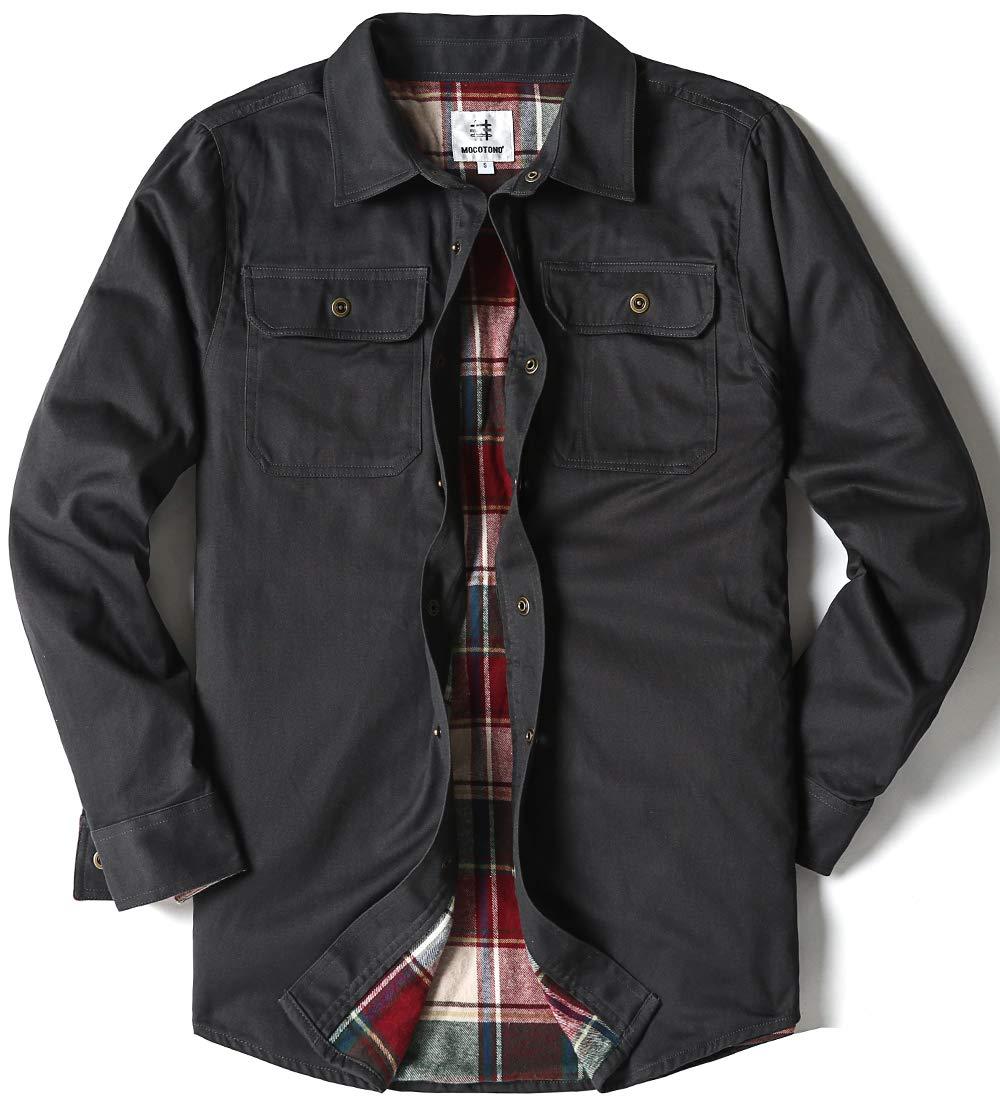 Men's Heavyweight Canvas Flannel Lined Shirt Jacket, Dark Grey Medium by MOCOTONO