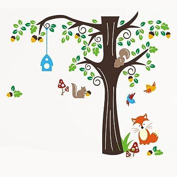 150 X134cm Nursery Forest Animals Birds Fox Squirrel Mushrooms Trees Wall  Art Stickers Decal For Nursery Part 57