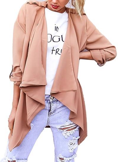 9dfd8ddef838f Amazon.com  Joeoy Women s Open Front Draped Trench Coat Outwear-4 ...