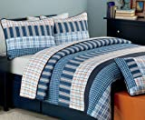Cozy Line Home Fashions Business Ink Quilt Bedding Set, Navy Orange Grid Striped Print 100% Cotton Reversible Coverlet Bedspread, Gifts for Boy/Men / Him (Navy Orange, Queen - 3 Piece)