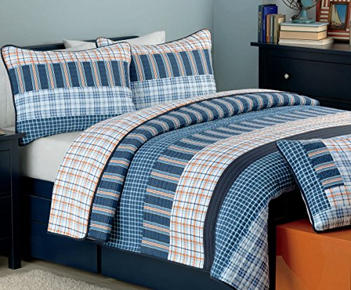 Cozy Line Home Fashions Business Ink Quilt Bedding Set, Navy Orange Grid Striped Print 100% COTTON Reversible Coverlet Bedspread, Gifts for Boy/Men/Him (Navy Orange, Queen - 3 piece) (Boys Queen Quilt Bedding)