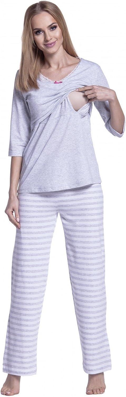 Happy Mama para Mujer Pijama Premamá Embarazo Lactancia Estampado de Rayas. 394p (Gris Claro, 44-46, 2XL)