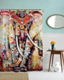 Elephant Shower curtain by Mimihome, Indian Bohimian Boho Style Waterproof Mildew Free Bathroom Decor, 72 x 72 Inch, Colorful