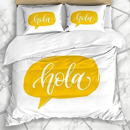 DUILLY Ropa de cama funda nórdica Palabra Amarillo Moderno Hola ...