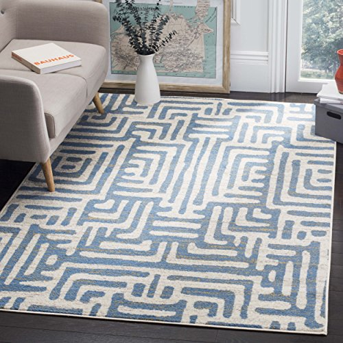 light blue abstract area rug - 6