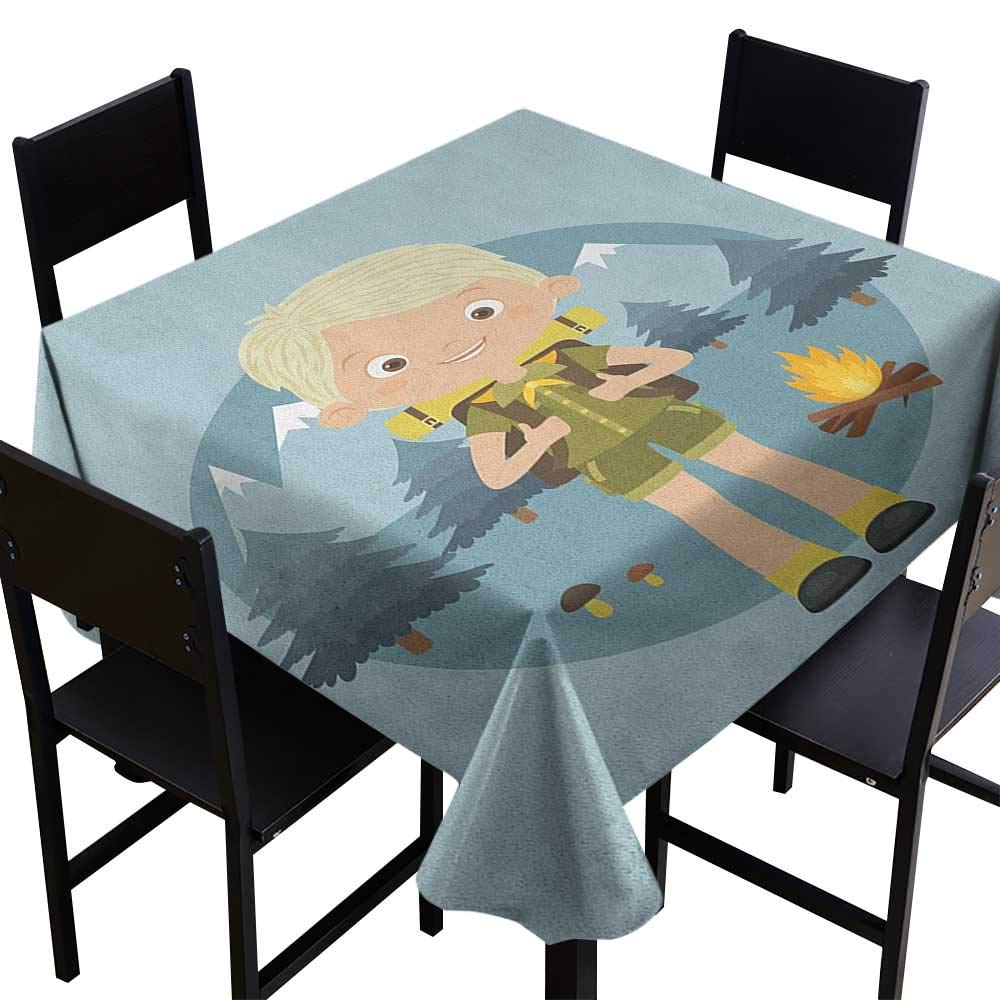 SKDSArts Square Tablecloth for Wedding Black Explore,Cartoon Boy Scout in The Forest with Mountains Trees Mushroom and Campfire Design, Multicolor,W70 x L70 for Umbrella Table by SKDSArts