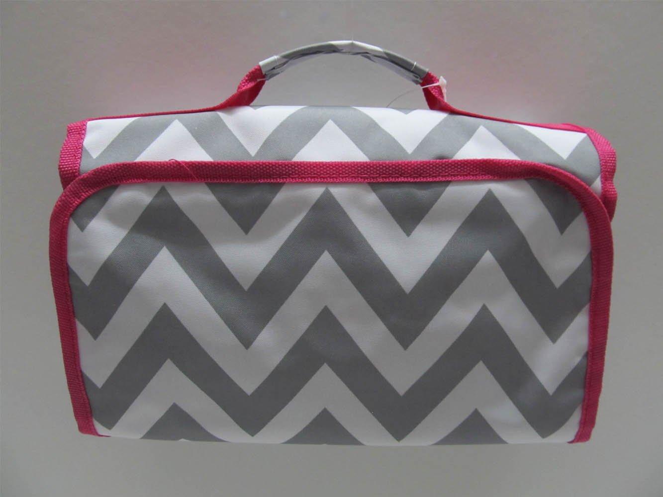 Cosmetic Organizer Travel Makeup Organizer Cosmetic Bag Chevron Gray Pink