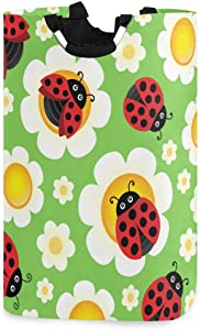 RunningBear Laundry Basket Washing Clothes Hamper - Cute Ladybug Flower Vector Collapsible Laundry Hamper Large Capacity Clothes Hamper Bag for Bathroom, College