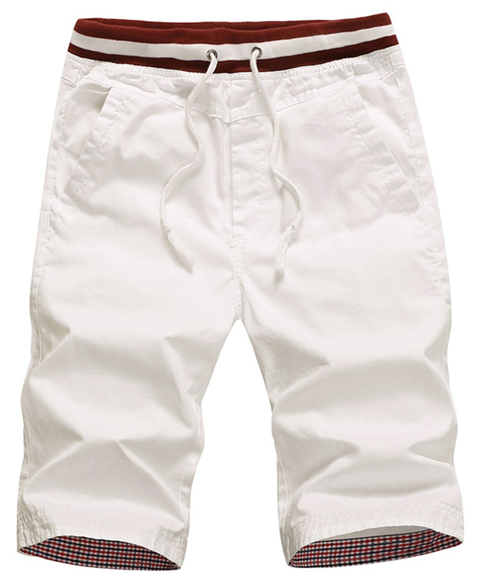 WHATLEES Mens Casual Slim-Fit Cotton White Shorts 8210 White 36