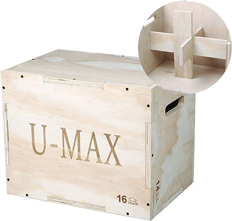 U-MAX Madera Plyo Box 3 en 1 para Crossfit Saltar Entrenamiento y Acondicionado pliométrico Caja para Crossfit Training, Artes Marciales Mixtas 30/24/20, 20/16/14,16/14/12: Amazon.es: Deportes y aire libre