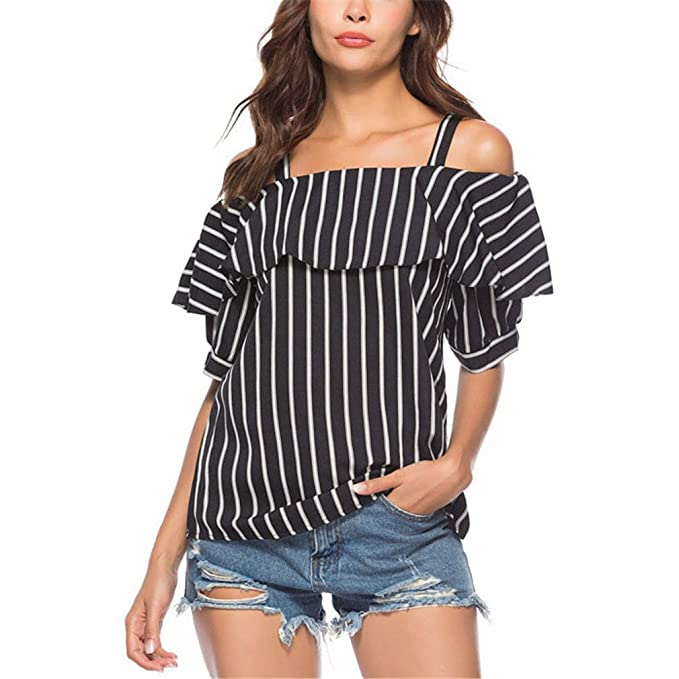 Off Shoulder Strap Ruffle Top Women Fashion Short Sleeve Summer Tops For Women Casual Striped Shirt