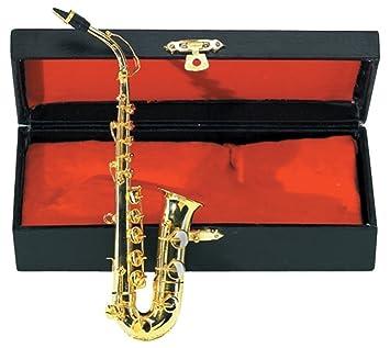 GEWA 980580 - Instrumentos en miniatura, saxofón alto con estuche, 15 cm