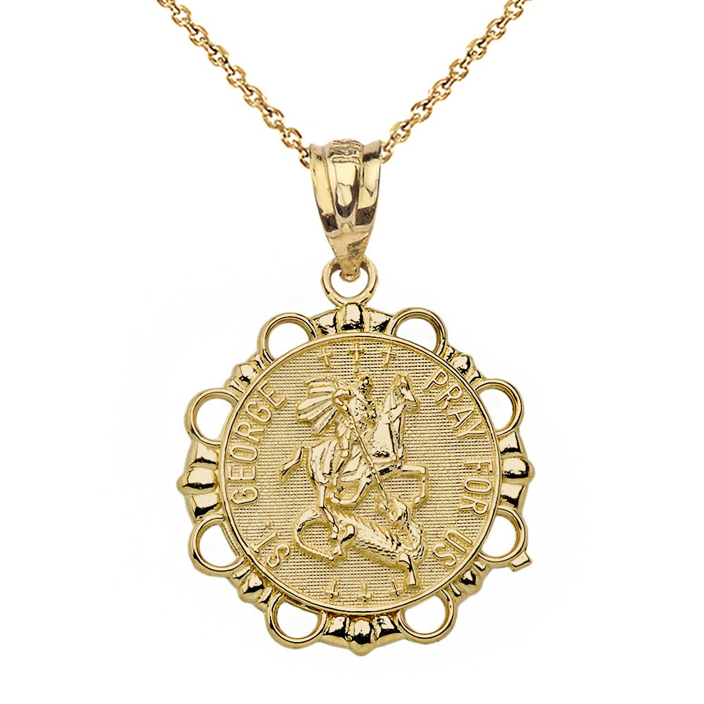 10k Yellow Gold St. George Religious Charm Round Necklace Pray For Us, 22''