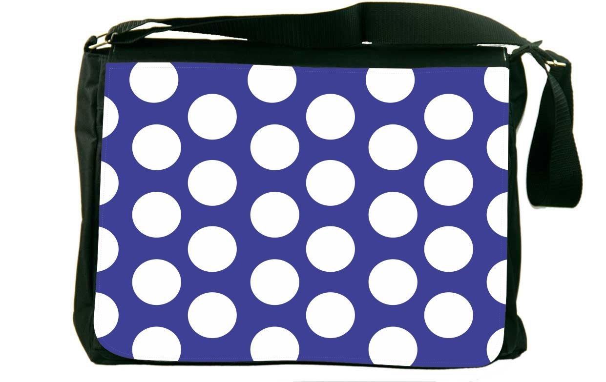 Rikki Knight Blue Polka Dots Messenger Bag School Bag