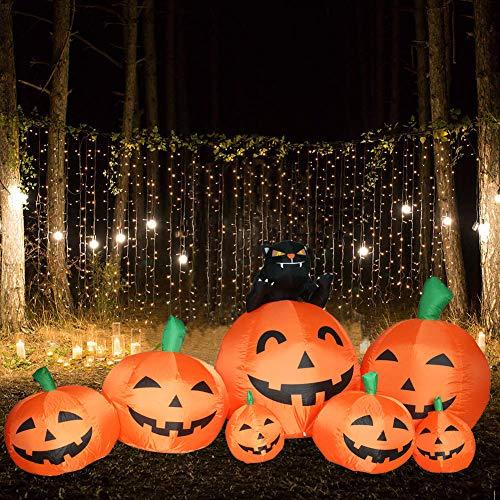 (Kemper King 8 Foot Halloween Inflatable Lighted Airblown Black cat 7 Pumpkin Jack-o'-Lanterns Home Yard Garden Decor Indoor Outdoor)