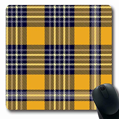 LifeCO Mouse Pad Gingham Blue Antique Plaid Check All Over Abstract Trend Yellow Border Checker Classic Stripe Oblong Shape 7.9 x 9.5 Inches Mousepad for Notebook Computer Mat Non-Slip Rubber