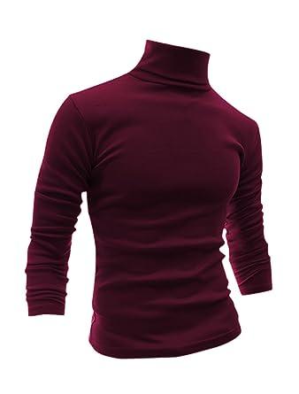 c48acb8ca1e3 Homme Manches Longues à Col Roulé Slim Fit Confort T-Shirts  Amazon ...