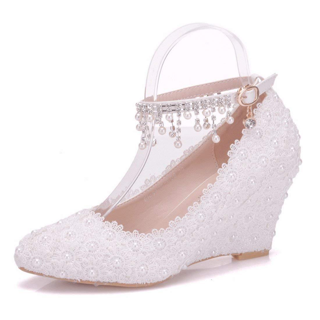 Qiusa Damen Spitze Blaumen besetzt Wedge High Heel Knöchel Ketten Elfenbein Hochzeit Schuhe UK 4.5 (Farbe   - Größe   -)