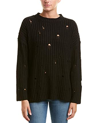 Romeo   Juliet Couture Women s Distressed Oversized Knit Sweater Black Small 5d924d1ad