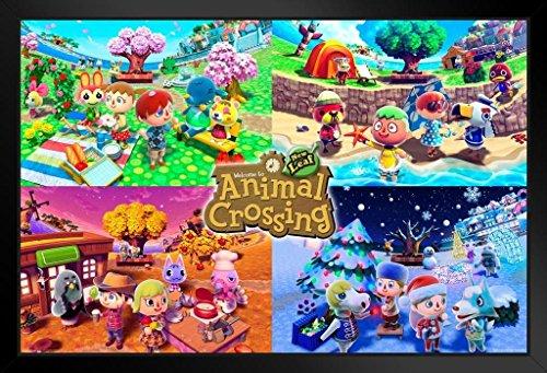 Pyramid America Animal Crossing Four Seasons Framed Poster 20x14 - New 20 Animal Print