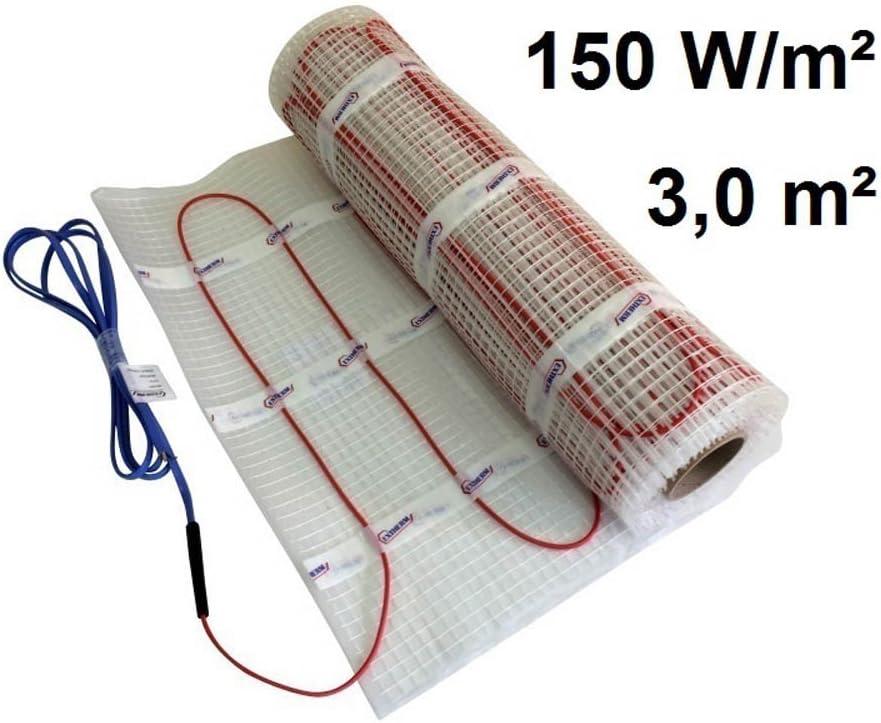 Nassboards Premium Pro Kit de Calefacci/ón El/éctrica Caja Amarilla Por Suelo Radiante de 150 W Termostato Negro Con Pantalla T/áctil 4.0m/²