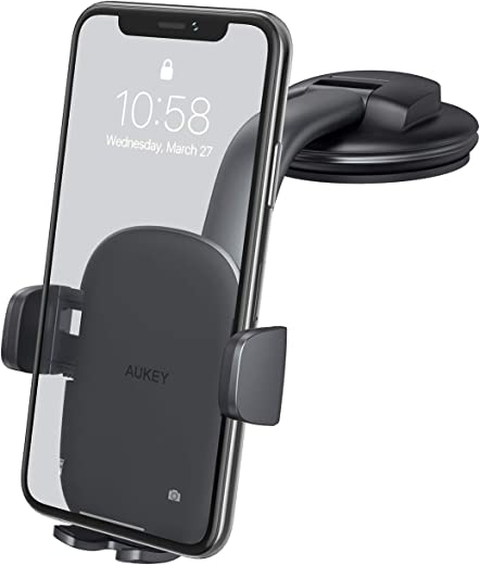 AUKEY Car Phone Mount [Strong Suction] Windshield Dashboard Car Phone Holder Anti-Shake 360 Degree Rotation Compatible with iPhone 11 Pro Max/11/XS Max/XS/8 and More