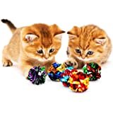 SunGrow Mylar Crinkle Balls for Cats, 2 Inches, Unleash Your Feline's Inner Tiger, Irresistible Crinkle Sound, Get a Pudgy Kitty Back in Shape, Super Value Toy, Ideal for Senior Cat, 12 Pack