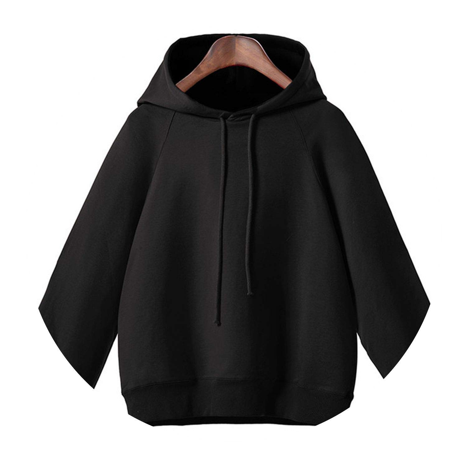 Long Lantern Sleeve Hoodies Solid Oversized Hooded Neck Pullovers Autumn W30