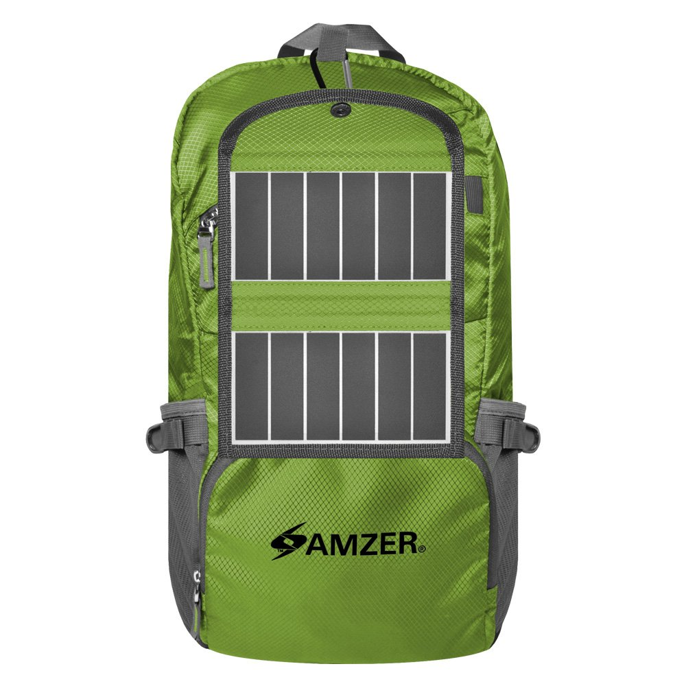 AMZER Solar Powered Hiking Daypacks With 3.25 Watts Solar Charger - Green by Amzer