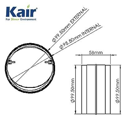 Kair - Conector con obturador trasero (100 mm, no retorno, con solapa de amortiguador para conectar tuberías de conducto o manguera flexible: Amazon.es: Industria, empresas y ciencia