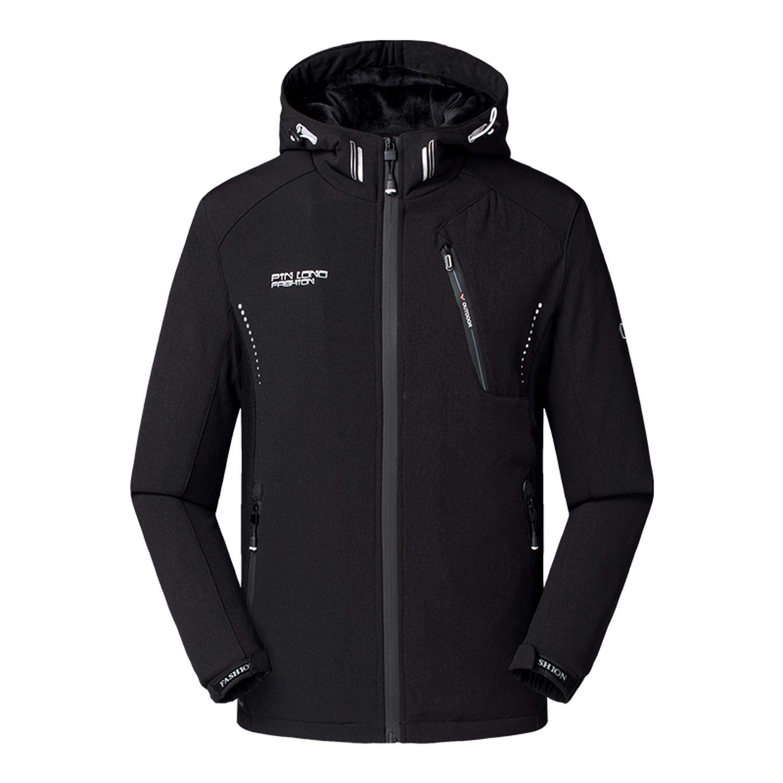 black-shop Brand Winter Jacket Men Thicken Warm Soft Shell Waterproof Windbreaker Parka Coat Hooded Clothing at Amazon Mens Clothing store: